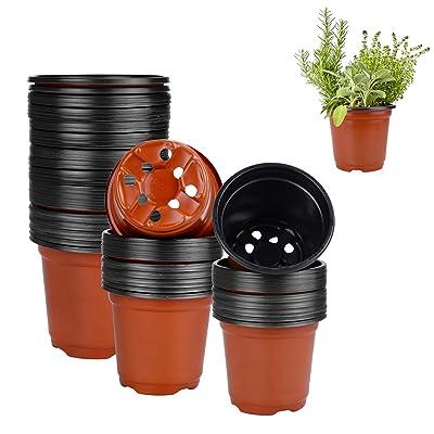 Plastic Plant Pot 100 Pack Flower Nursery Pots Starter Pot for Seedling Little Garden Pots to Re-pot Succulents And Small Plants: Garden & Outdoor