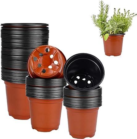 100Pcs Flower Pot Plastic Seedlings Planting Nursery Planter Pots Garden Supply