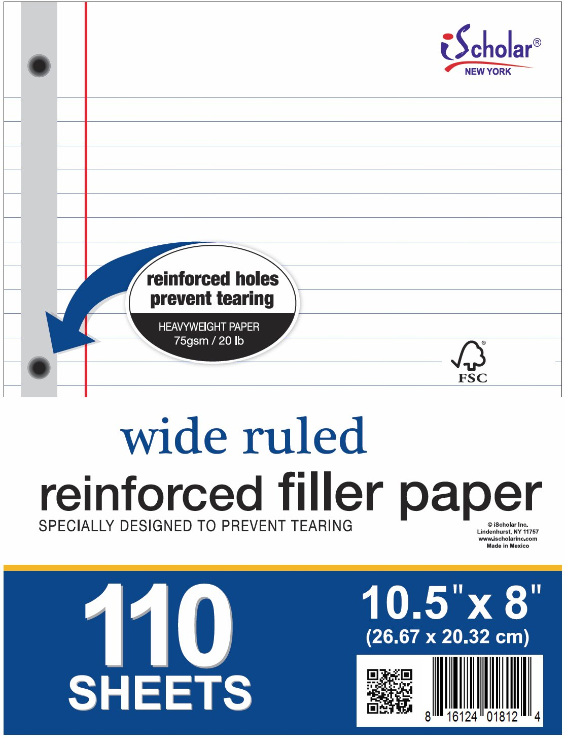 iScholar Reinforced Filler Paper, Wide Ruled, White, 110 Sheets, 8 x 10.5 Inches (83100) by iScholar