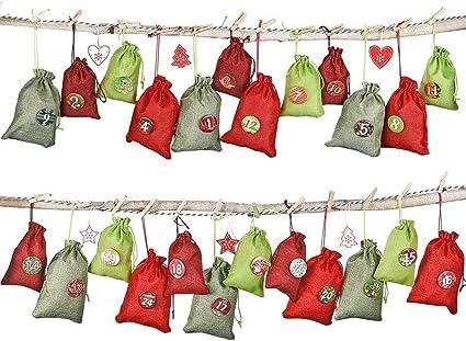 Sacchetti di Caramelle per Natale Artigianato Artigianale Calendario DellAvvento di Natale 24 Pezzi Sacchetti di Tela con Coulisse Sacchetti Regalo con Adesivi e Clip per Etichette Digitali
