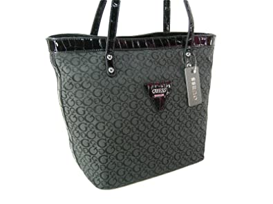 New Guess G Logo Purse Tote Hand Bag Black Coal Tansy Crocodile Patent Trim ed1551577ac6f