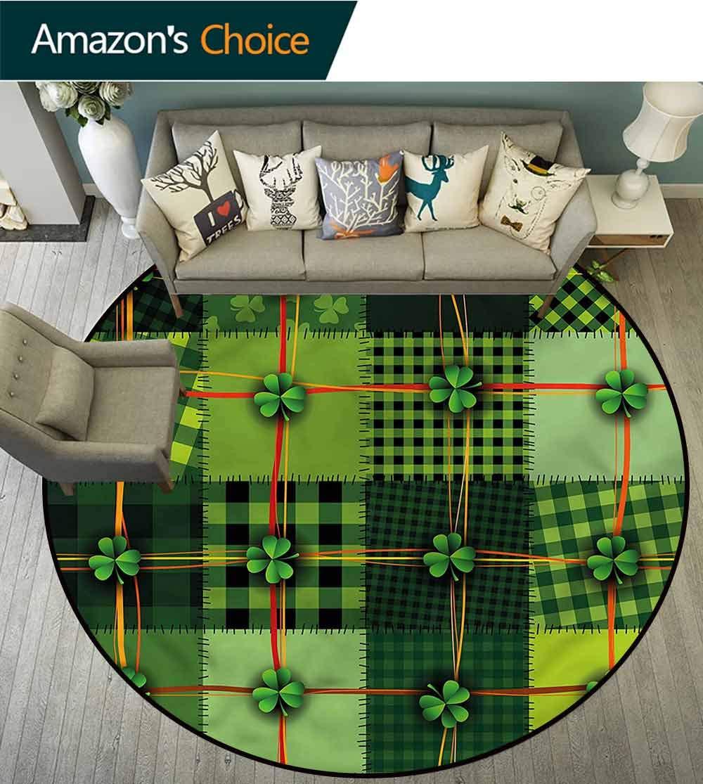 Irish Sofa Area Rug Patchwork Celtic Clovers Super Soft Diameter-47 by Philip C. Williams