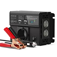 CHGeek 300W Auto Wechselrichter DC 12V auf AC 220V Inverter KFZ Spannungswandler Wechselrichter mit EU Steckdose, 4.8A Dual USB Ladegerät und 2 Zigarettenanzünder für Phones, Tablet and More - Schwarz