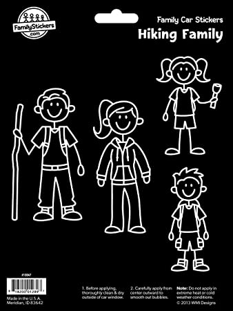 Hiking Family Vinyl Car Stickers 4 Decals