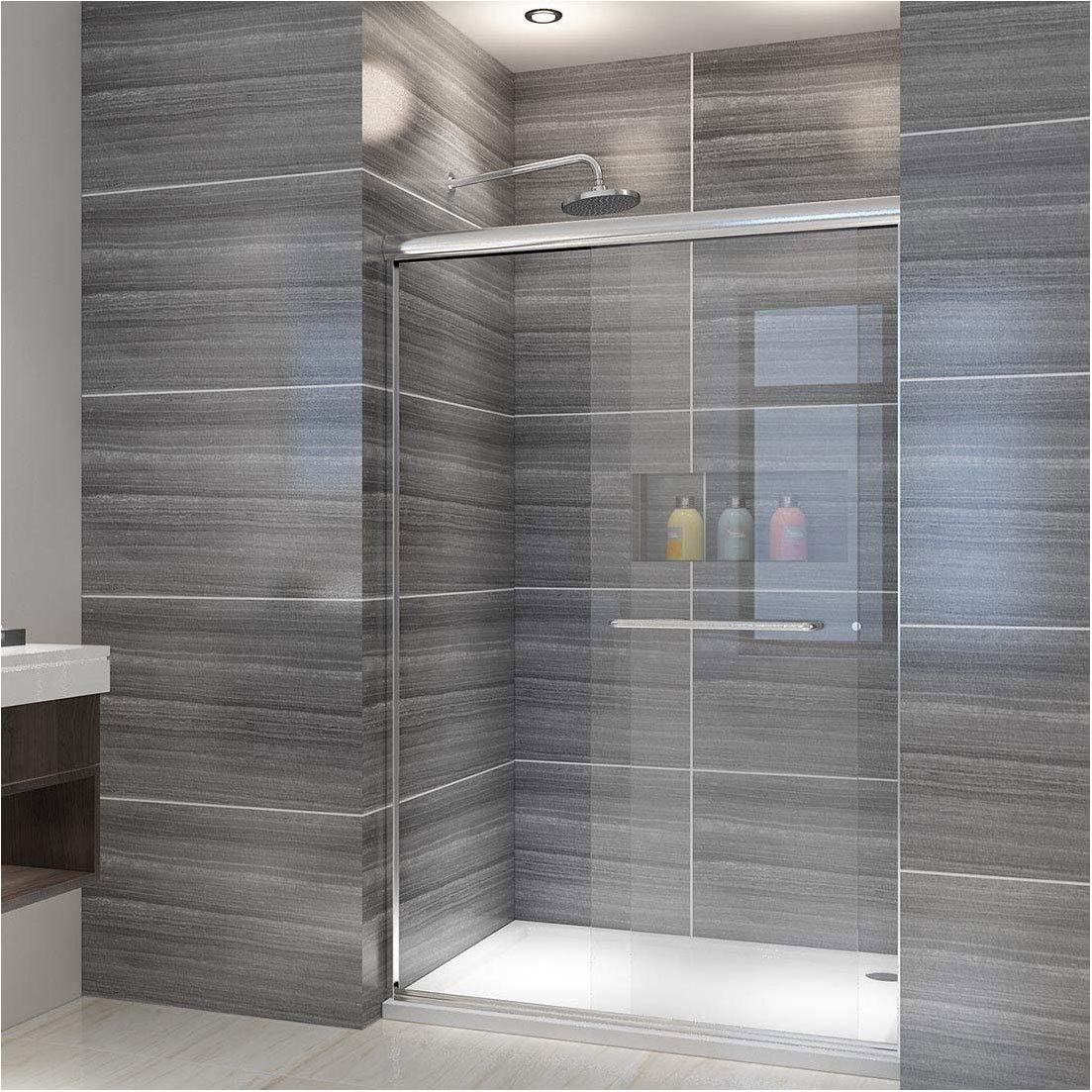 ELEGANT Showers 46.5 in. to 48 in. W x 72 in. H, Semi-Frameless 2 Bypass Sliding Shower Door Enclosure, 1 4 in. Clear Glass, Chrome Finish