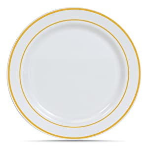 Select Settings [50 COUNT] (10.25 Inch) Gold Trim Plastic Dinner Plates