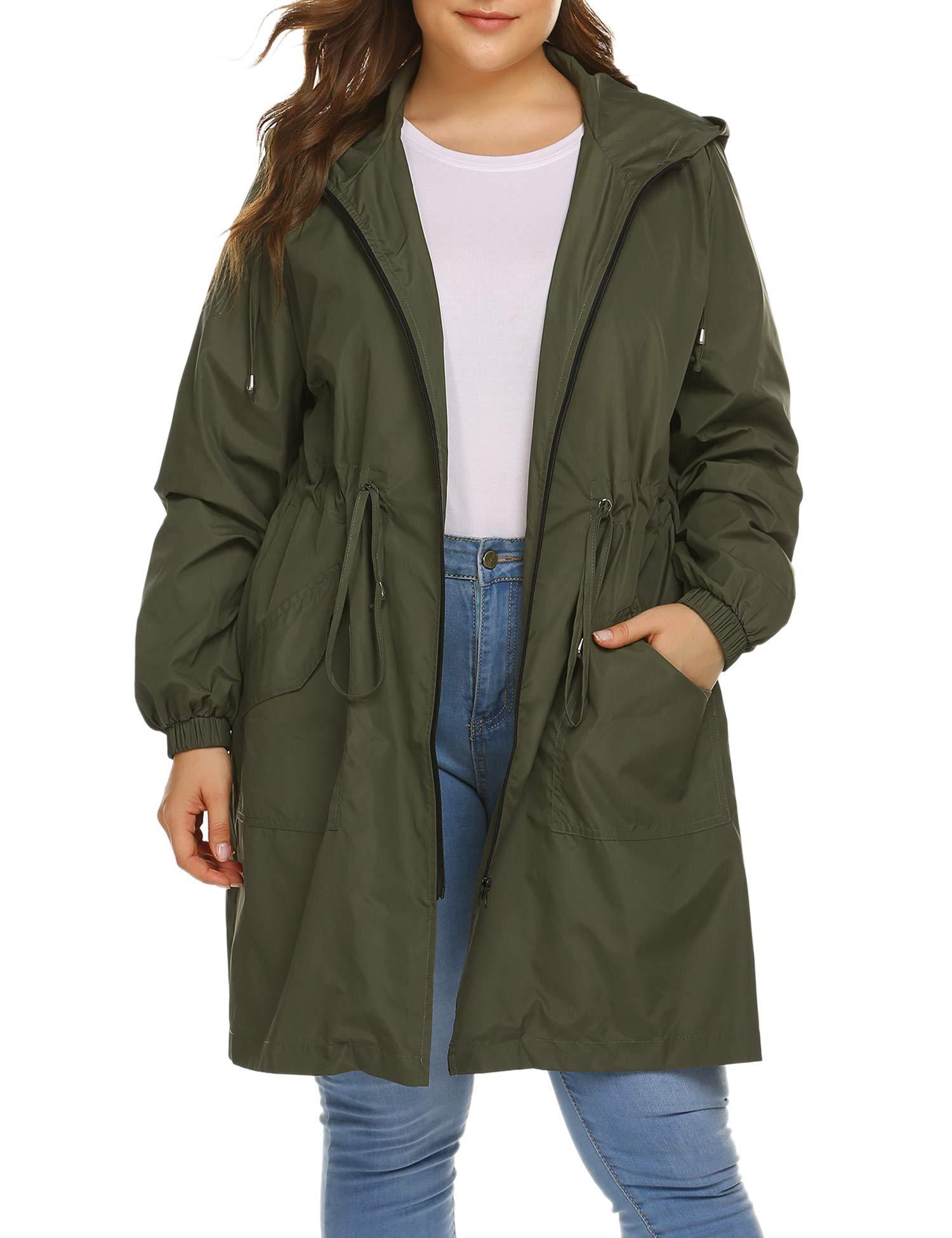 IN'VOLAND Women's Rain Jacket Plus Size Long Raincoat Lightweight Hooded Windbreaker Waterproof Jackets with Pockets
