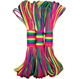 Beautylife88 101Ft Rainbow Color Paracord Rope Parachute Cord Outdoors