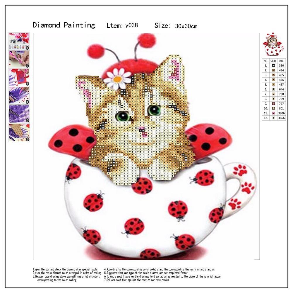 Amazon com: Asiproper Home Decoration 5D Cute Cat Diamond Painting