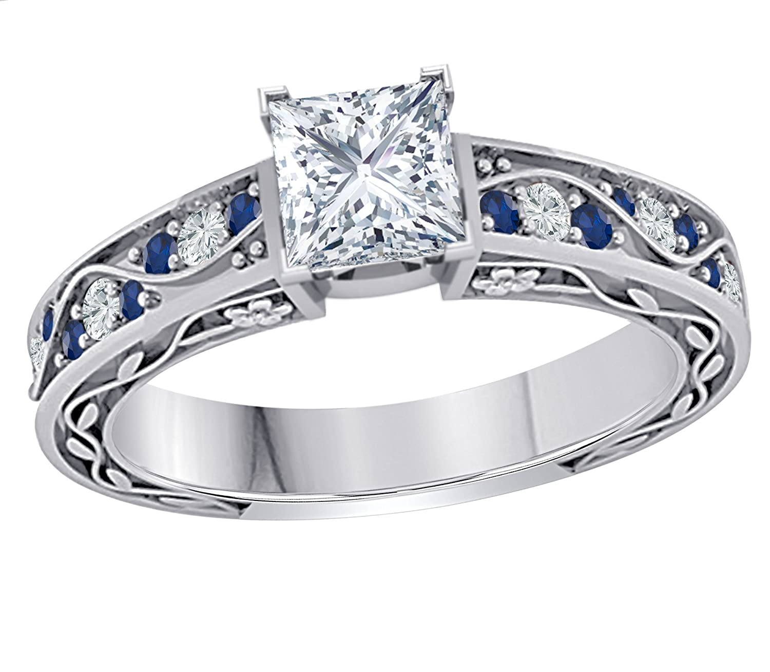Stunning 1.00 CT Princess Cut Simulated CZ Diamond /& CZ Blue Sapphire .925 Sterling Silver Plated Flower Look Cute Engagement /& Wedding Ring Womens