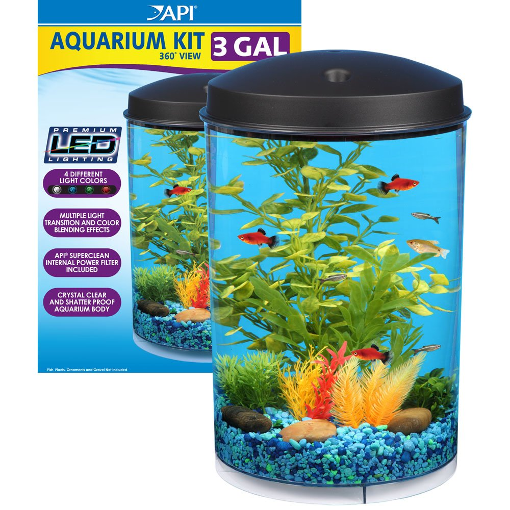 Fish for first tank - Amazon Com Api Aquaview 360 Aquarium Kit With Led Lighting And Internal Power Filter 3 Gallon Aquarium Starter Kits Pet Supplies