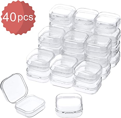 Jewelry Mini Clear Square Box Empty Case with Lid for Earplugs Hardware or Any Other Small Craft Gadgets Pills 40 Pieces 1.37 x 1.37 x 0.7 Inches Abgream Plastic Beads Storage Containers