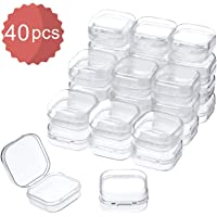 MTMTOOL 8-Pack 2.8 x 2.6 x 0.9 Clear Square Plastic Storage Containers Box Case with Lids for Tiny Beads Jewerlry Findings Hardware Parts and Other Small Items