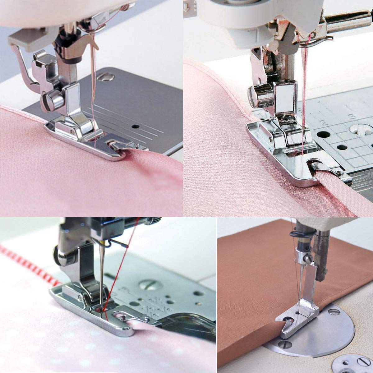 JXJH 3 Pieces Narrow Rolled Hem Sewing Machine Presser Foot Set N/ähmaschinen-Kit N/ähf/ü/ße Ersatzteile Zubeh/ör Geeignet f/ür Haushalts-Multifunktionsn/ähmaschinen 3 mm, 4 mm and 6 mm