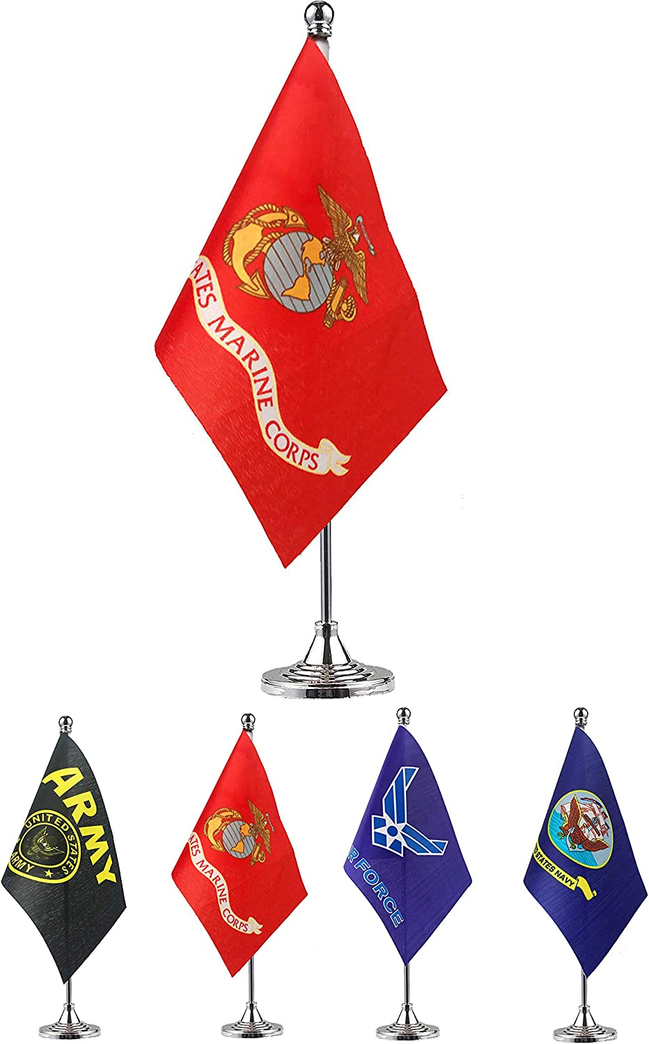 GentleGirl.USA US Marine Corps Table Flag Stick Small Mini United States Military Polyester Flag Office Table Flag on Stand Base,for Army Party Events Celebration Decorations Supplies