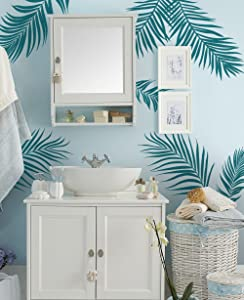 Simple Shapes Palm Leaves Wall Decal - Teal