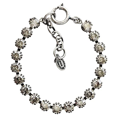 Catherine Popesco Silvertone Tennis Crystal Bracelet, Shade Light Grey 1694