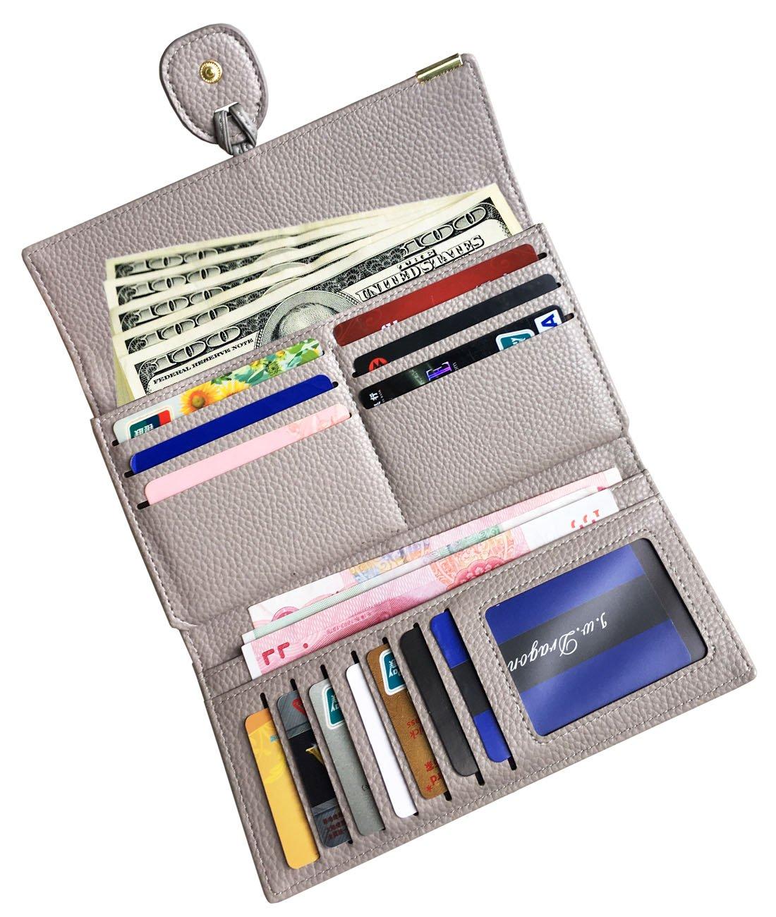 Rfid Blocking Leather wallet for women Girls,ladies long purse Large Capacity(Grey) by YOTOO (Image #2)