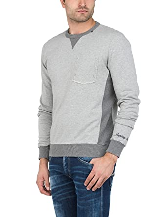 Replay M3568 .000.22562, Sweat-Shirt Homme, (Dark Grey Melange M15), Medium