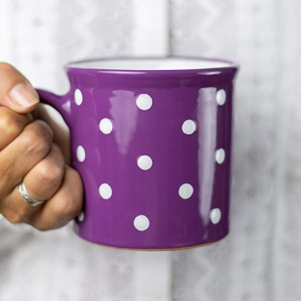 Handmade Red /& White Polka Dot Ceramic Cappuccino Coffee Tea Cup /& Saucer