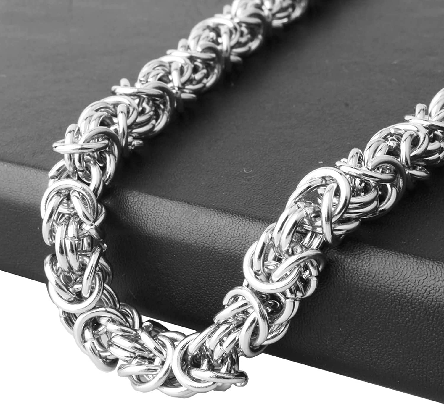 Aokarry Stylish Neck Chains for Men 316L Stainless Steel Byzantine Chain Necklace for Men