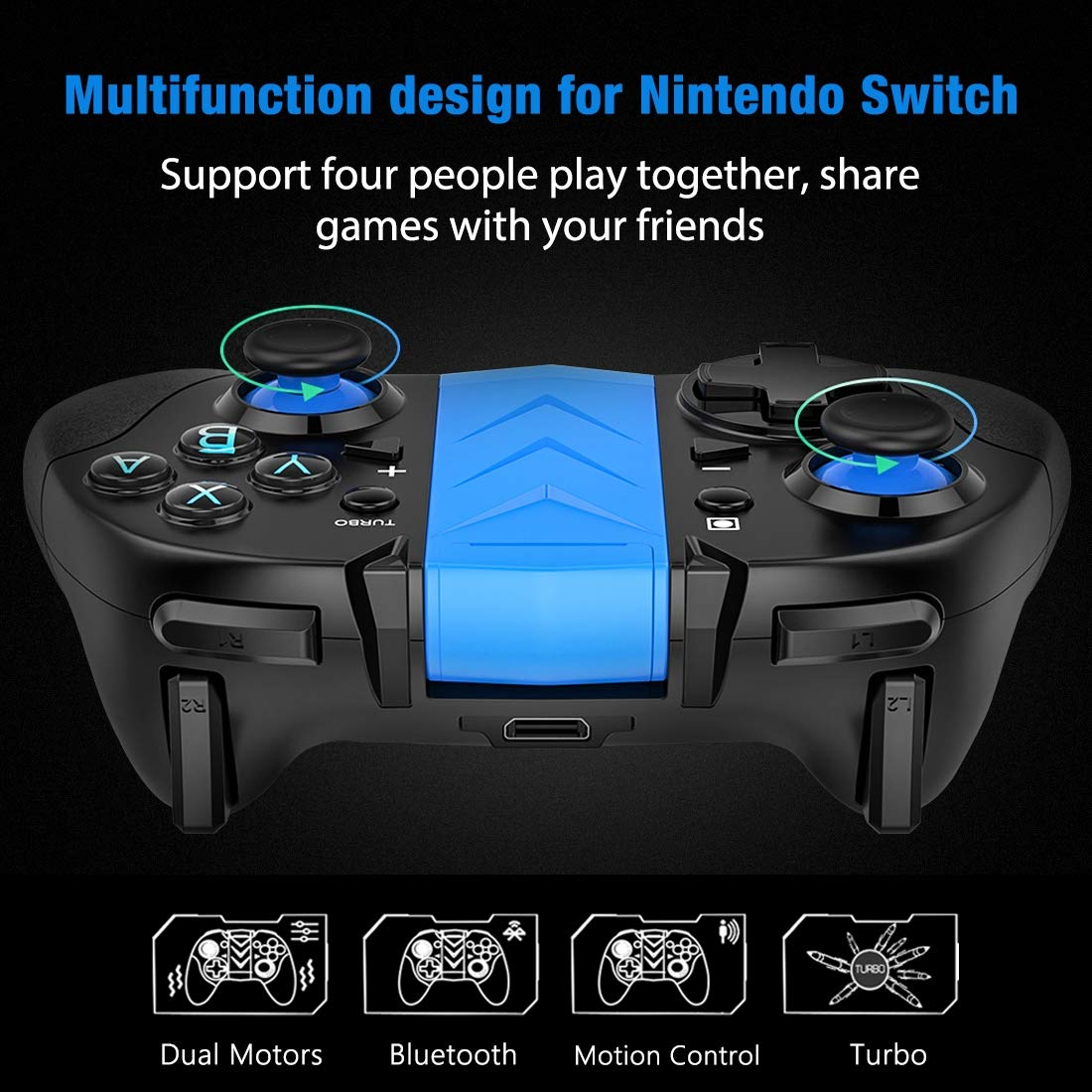 Amazon.com: BEBONCOOL Wireless Switch Pro Game Controller for Nintendo Switch, Pro Remote Controller with Turbo and Adjustable Shock Function Compatible ...