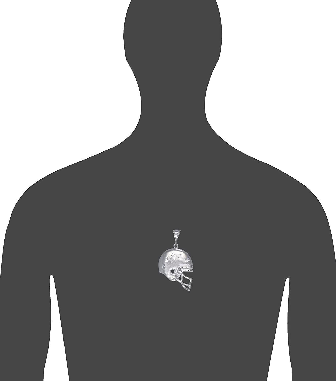 Sterling Silver Football Helmet Charm Pendant Necklace with Diamond Cut Finish