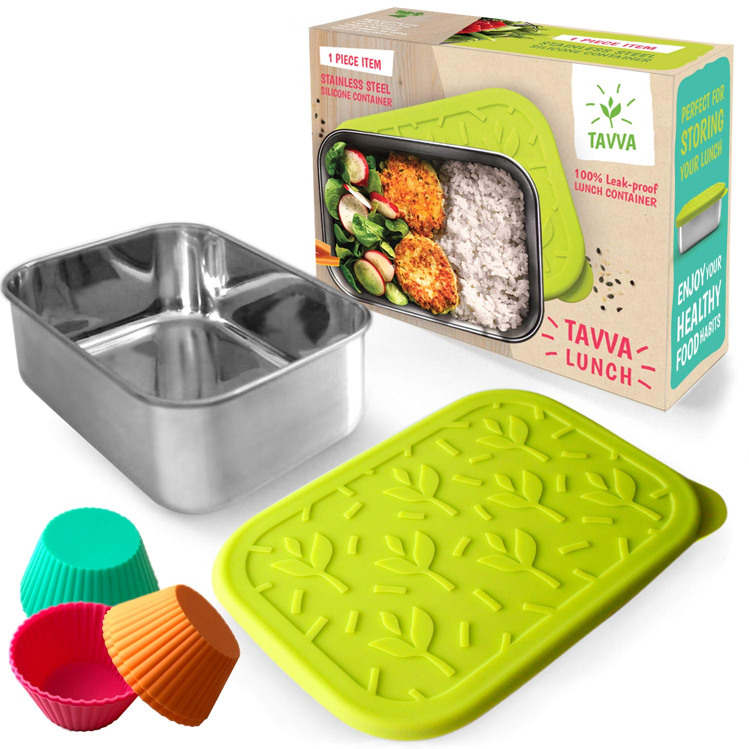 TAVVA Stainless Steel Lunch Container 23oz with Leakproof Food-grade Silicone Lid w/ 6 Silicone Cupcake Liners - Also Suitable as Kids Lunch Box, Toddler Lunch Box, Sandwich Container by TAVVA
