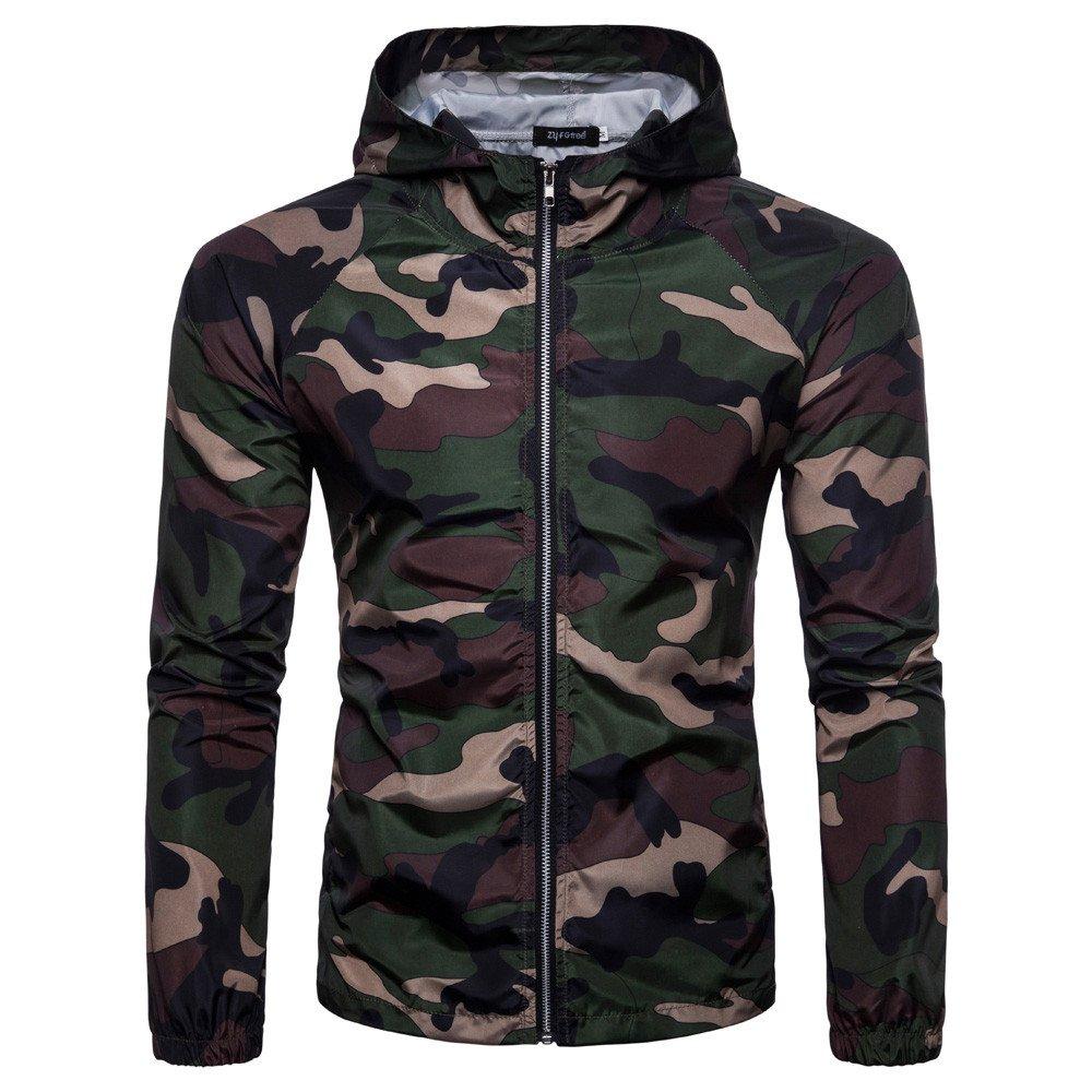 Serzul Men's Summer Camouflage Print Suntan-Proof Pullover Hooded T-Shirt Top Blouse (2XL, Army Green)