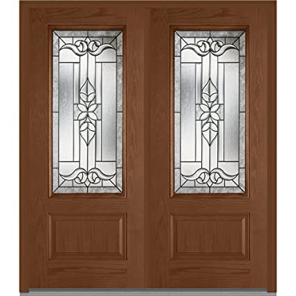 National Door Company Za06337r Fiberglass Oak Warm Chestnut Right