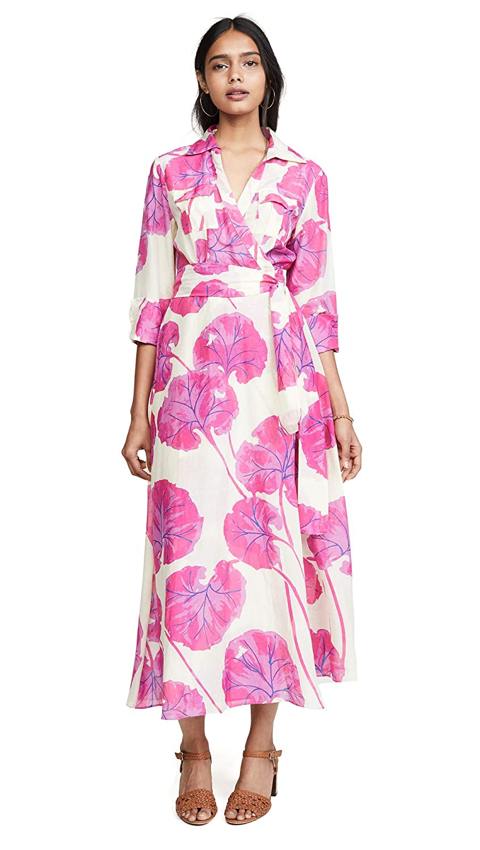 Diane von Furstenberg Womens Collared Floor Length Dress