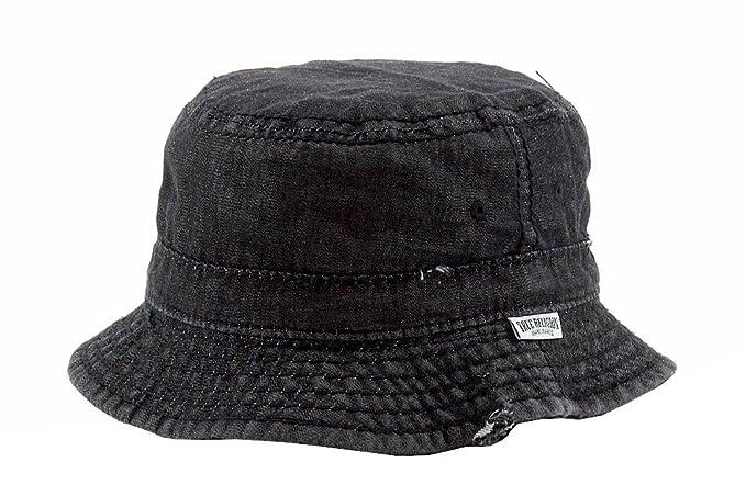 9358d356f55 Amazon.com  True Religion Men s Black Denim Distressed Bucket Hat Sz ...