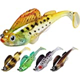 TRUSCEND Fishing Lures for Bass Trout 10/6PCS Jighead Lures Paddle Tail Swimbaits Soft Fishing Baits Freshwater…