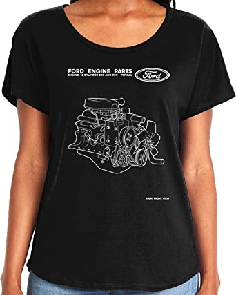 amdesco ladies ford engine parts diagram, 6 cylinder dolman t-shirt, black  small