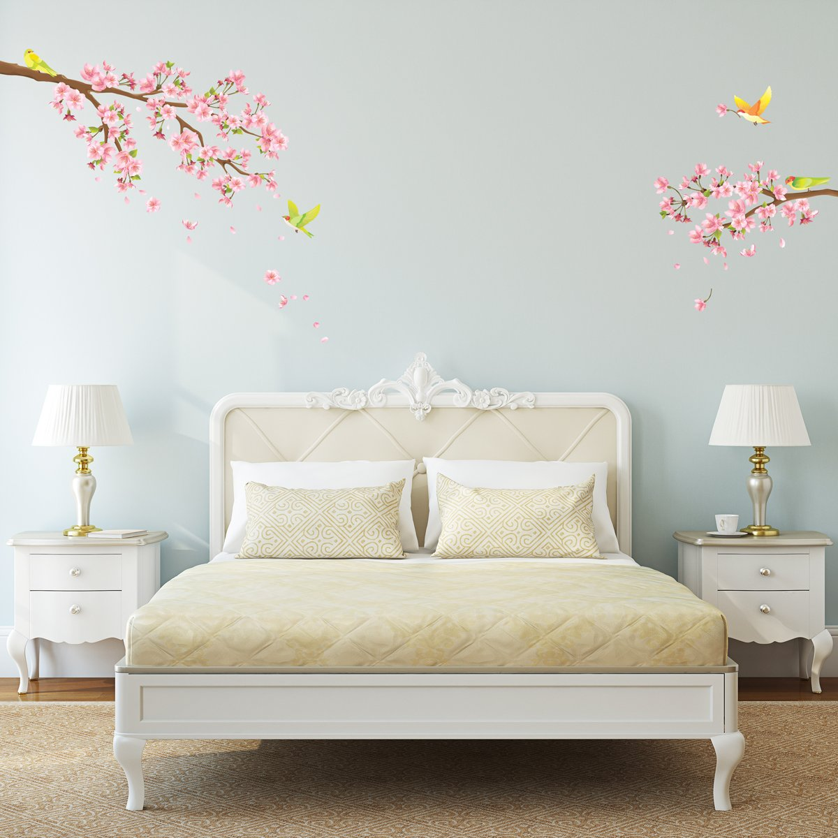 Amazon Decowall Dw 1303 Cherry Blossoms And Birds Kids Wall