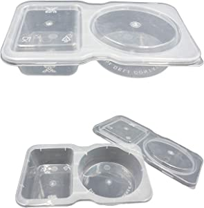 Disposable Two-Compartment Salad Dressing and Condiment Containers with Lid, (pack of 25,3oz), Perfect for to-go Sauce, Sampling, Travel Snack