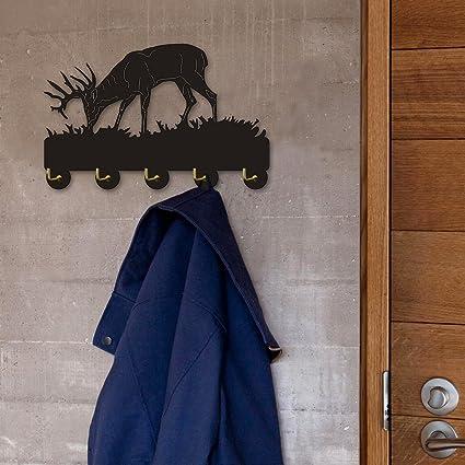 Amazon.com: Deer and Mountain Scene Wall Hook Animal Antler Wall ...