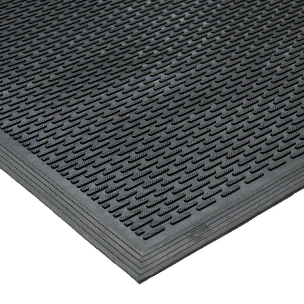Rubber-Cal 03-239-LIDuraScraper Linear Commercial Rubber Entrance Door Mat, 3/8 Thick x 36 x 60, Black