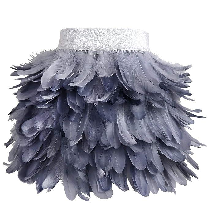LVOW Mujer Mini A línea Falda de Plumas Naturales para Familiar ...