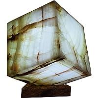 "Lámpara decorativa cubica de mesa/buró artesanal 20cmx20cm en piedra mármol ónix""Verde Talan"""
