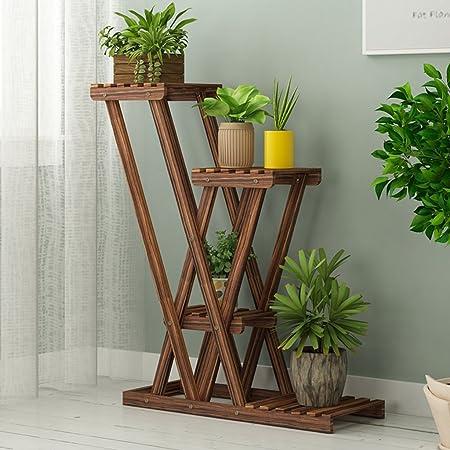 JIA JIA HOME - Puesto de flores Estante de flores escalera de madera de múltiples niveles, 4 estantes, escaleras de jardín interior / exterior Estantes de jardinería Soporte de exhibición soporte Esta: