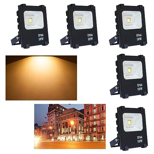SAILUN 5X10W Blanco cálido luz Foco Proyector LED Blanco cálido foco exterior Foco de pared aluminio IP65, Impermeable, color: Negro