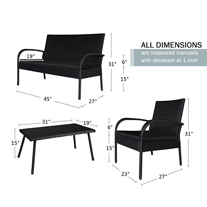Amazon.com: Homevibes - Juego de 4 piezas de muebles de ...