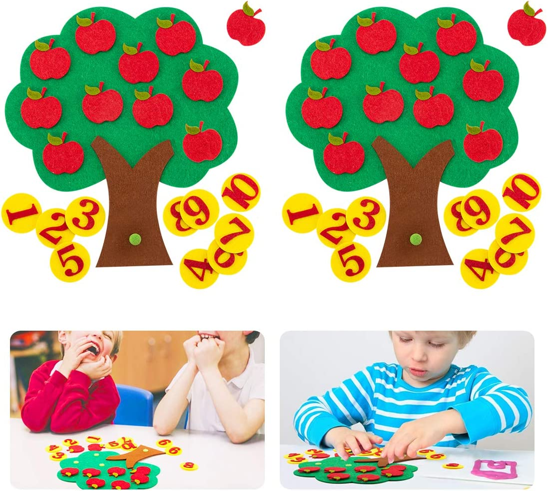 Biubee 2 Sets Felt Apple Tree Toy- Educational Apple and Number Matching Toy Montessori Math Toy for Kids Learning Numbers