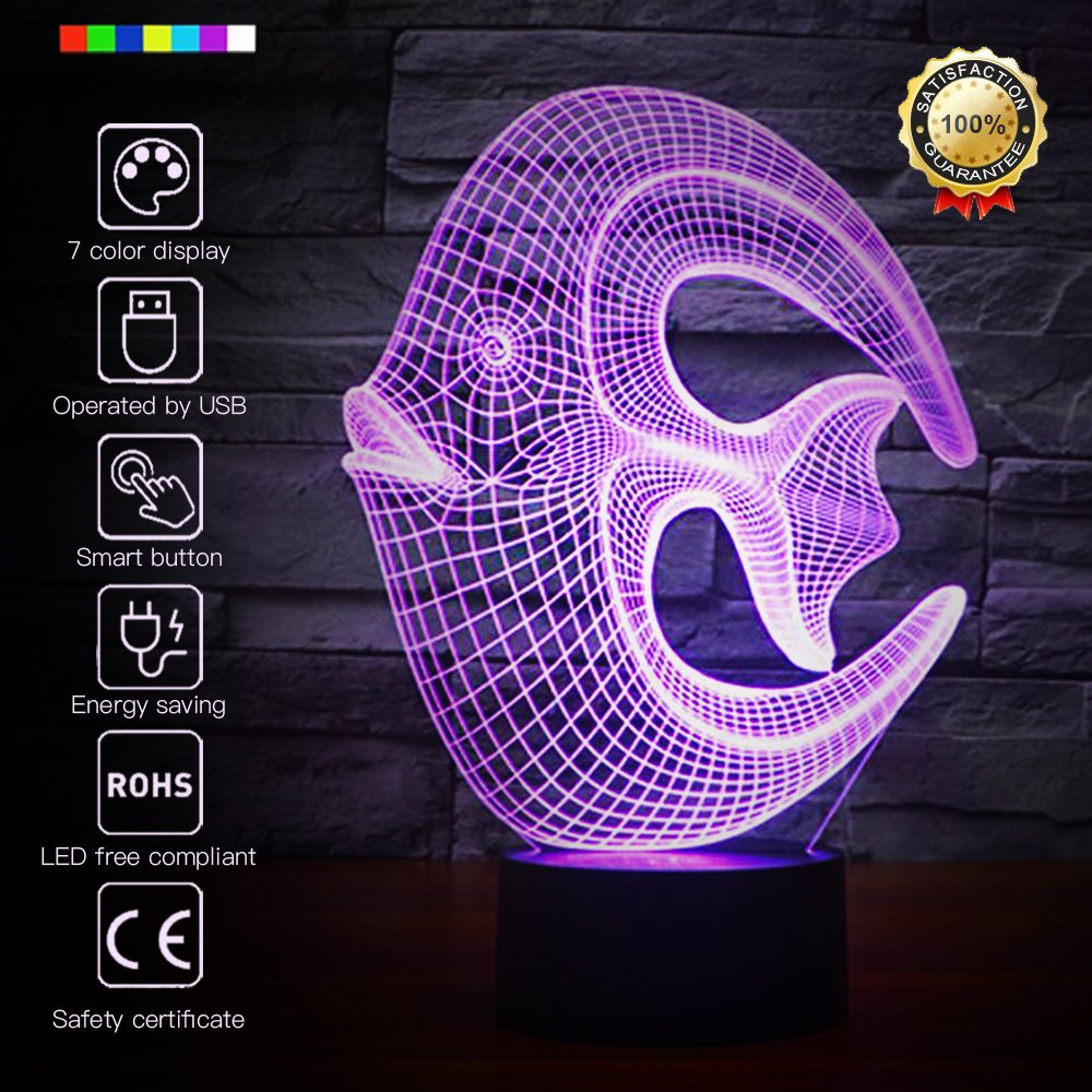 Night Light Fish 3D Night Light Animal Beside Lamp Help Kids Fell Safe at Night 7 Colors Change Decor Perfect Birthday Gift for Kids Great Toy Gift Idea for Kids (Reef Fish)