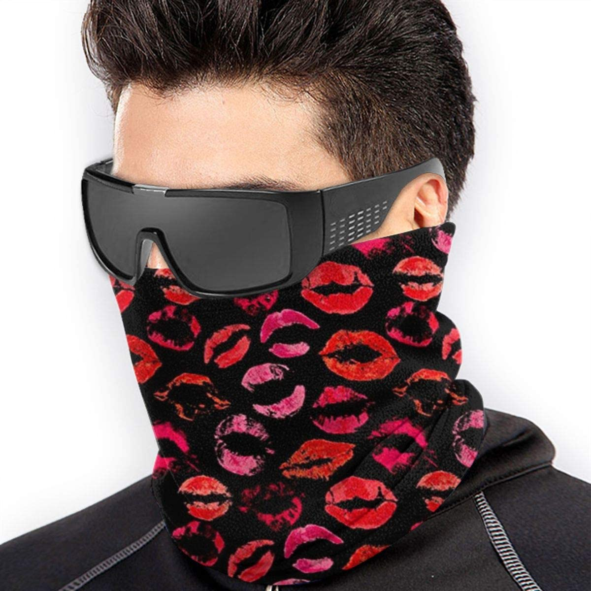 NA Scarlet Black Mask Warm Neck Scarf Outdoor UV Protection Party Cover Men and Women Multi-Function Headdress