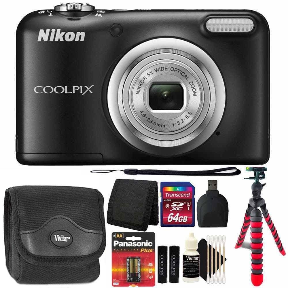 Nikon Coolpix a10 16.1 MPデジタルカメラ(ブラック) + 64 GBメモリカード+財布+リーダー+予備バッテリー+カメラケース+クリーニングキット+柔軟な三脚3個入り   B06VWJPQ5D