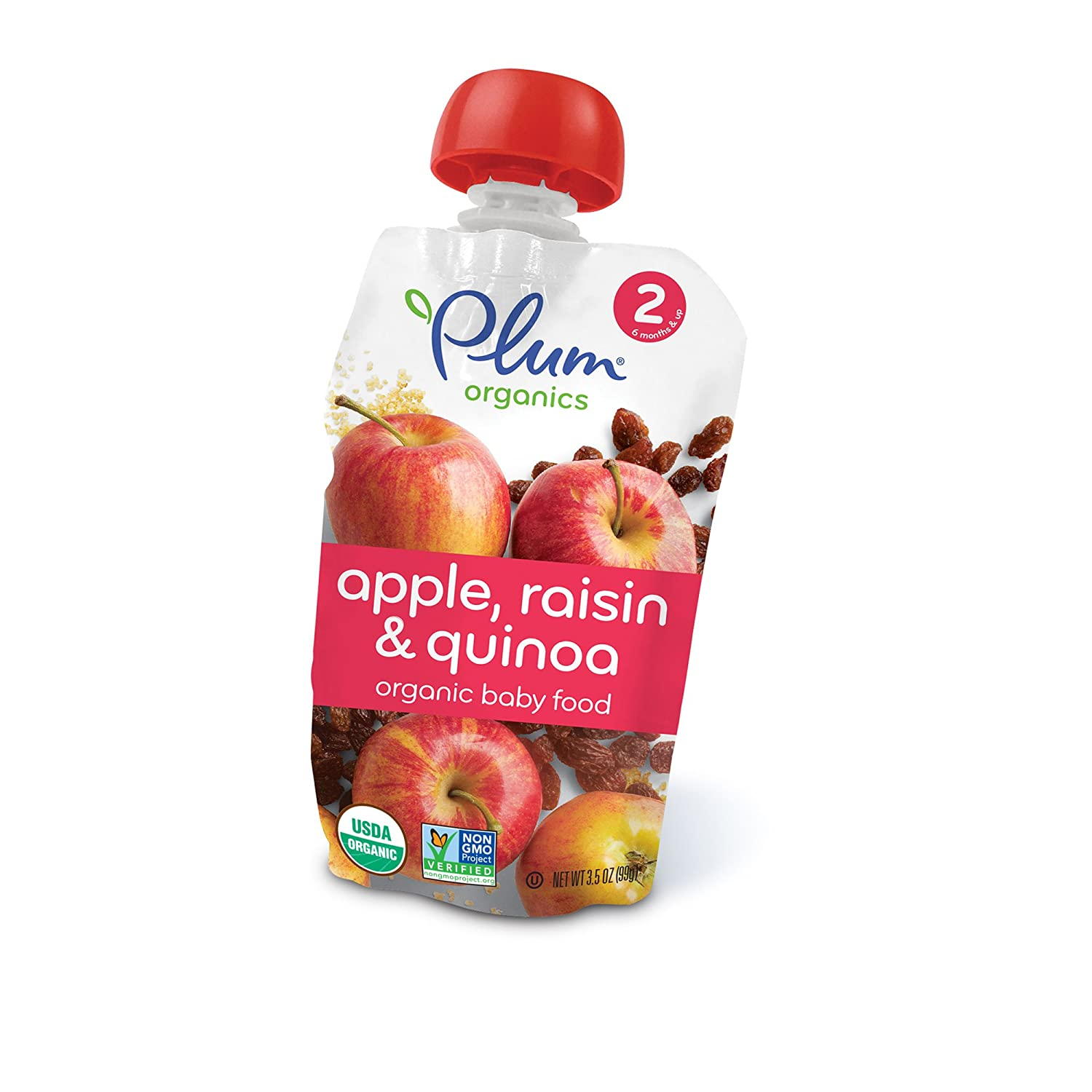 Plum Organics Stage 2, Organic Baby Food, Apple, Plum, Berry and Barley, 3.5 ounce pouch (Pack of 12) Plum Organics Baby