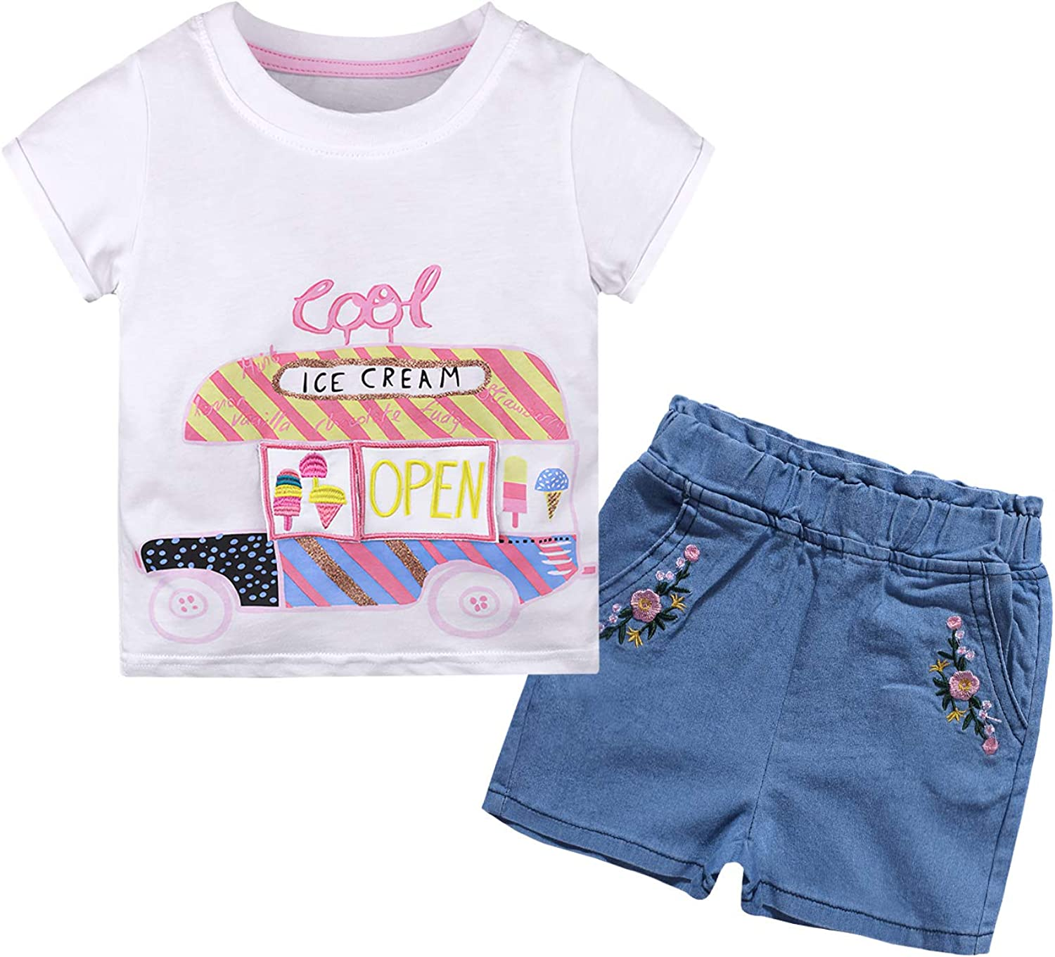 Nwada Kids Girl Tshirt and Shorts Set Toddler Clothes for Spring and Summer Cartoon Printed Tops and Denim Pants Age 18 Month 6 Years