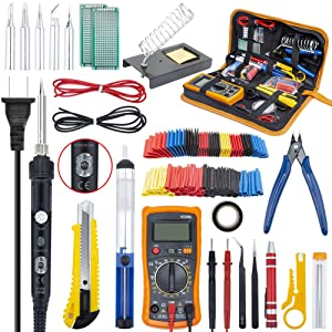 Ambberdr Portable Soldering Iron Kit Welding Tool, 60W Adjustable Temperature Soldering Iron with ON/OFF Switch, Digital Multimeter, Soldering Iron Tips, Stand, Desoldering Pump, Wire Cutter, Tweezers